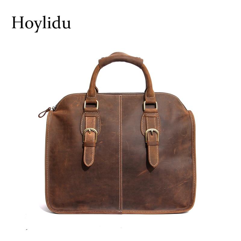 все цены на New Genuine Cow Leather Briefcase Mens Business Travel Brown Handbag Vintage Style Shoulder Bag Waterproof Messenger Bag For Mal онлайн
