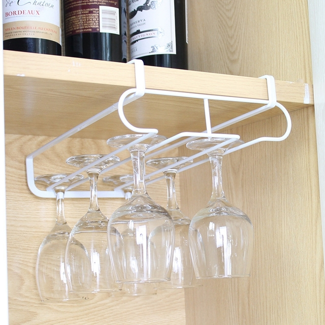 Wine Cup Wine Glass Holder Hanging Drinking Glasses Stemware Rack Under  Cabinet Storage Organizer Double Row