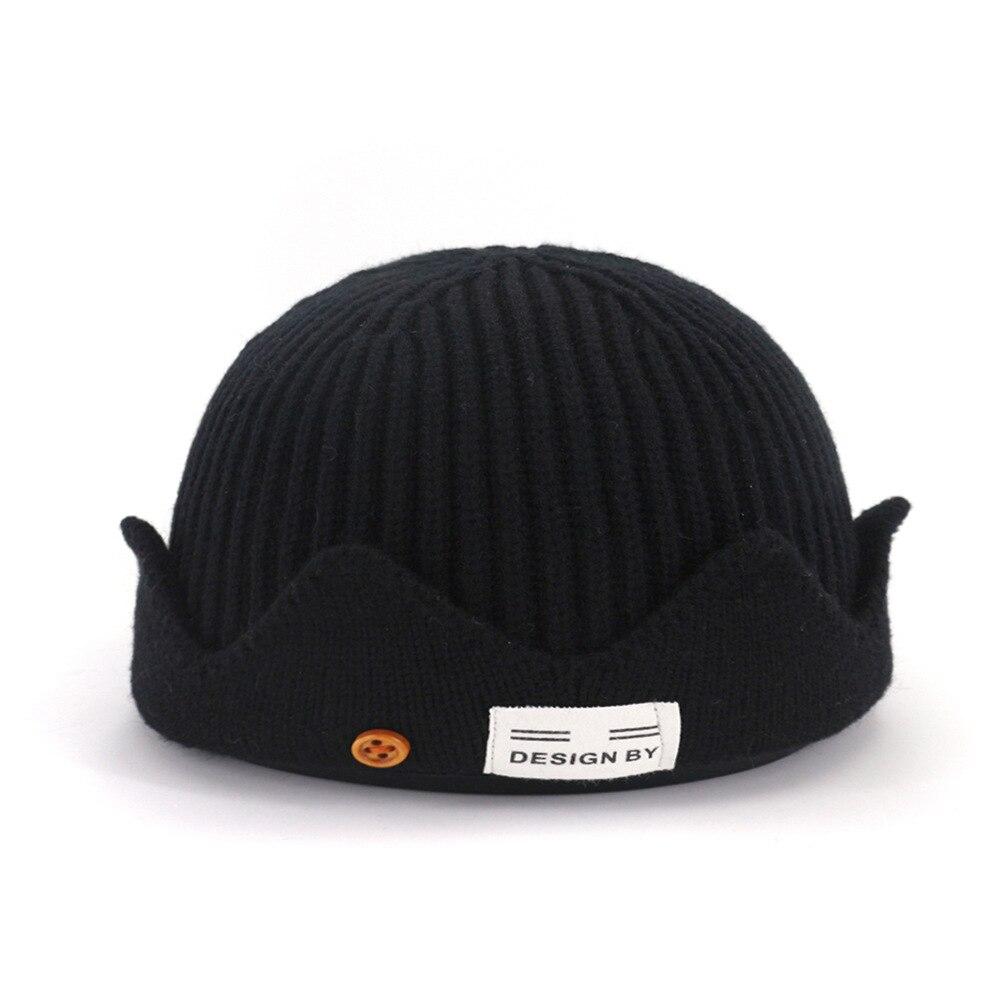 зимняя теплая вязаная шапка с черепом повседневная короткая нить