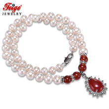 Classic style Red Pendant Necklaces for Women's 8-9MM White Natural Freshwater Pearls Chorker Necklace Fine Jewelry FEIGE цена и фото