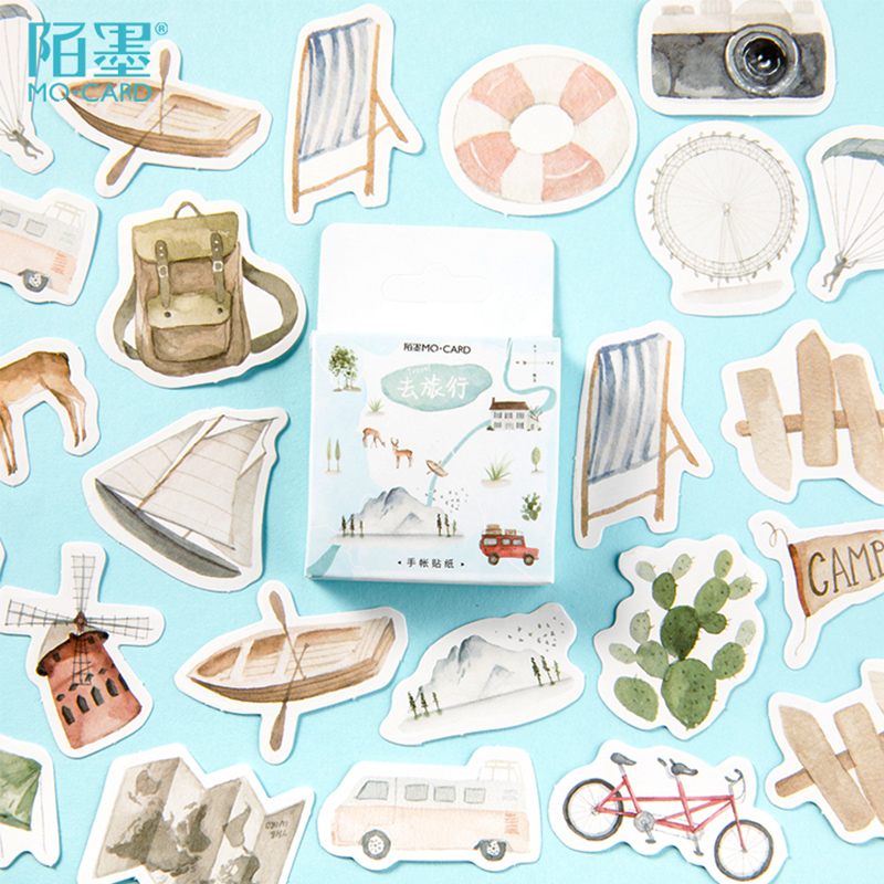 46 Pcs/lot Travel Life Camera Sailboat Paper Sticker Decoration Stickers DIY Ablum Diary Scrapbooking Label Sticker