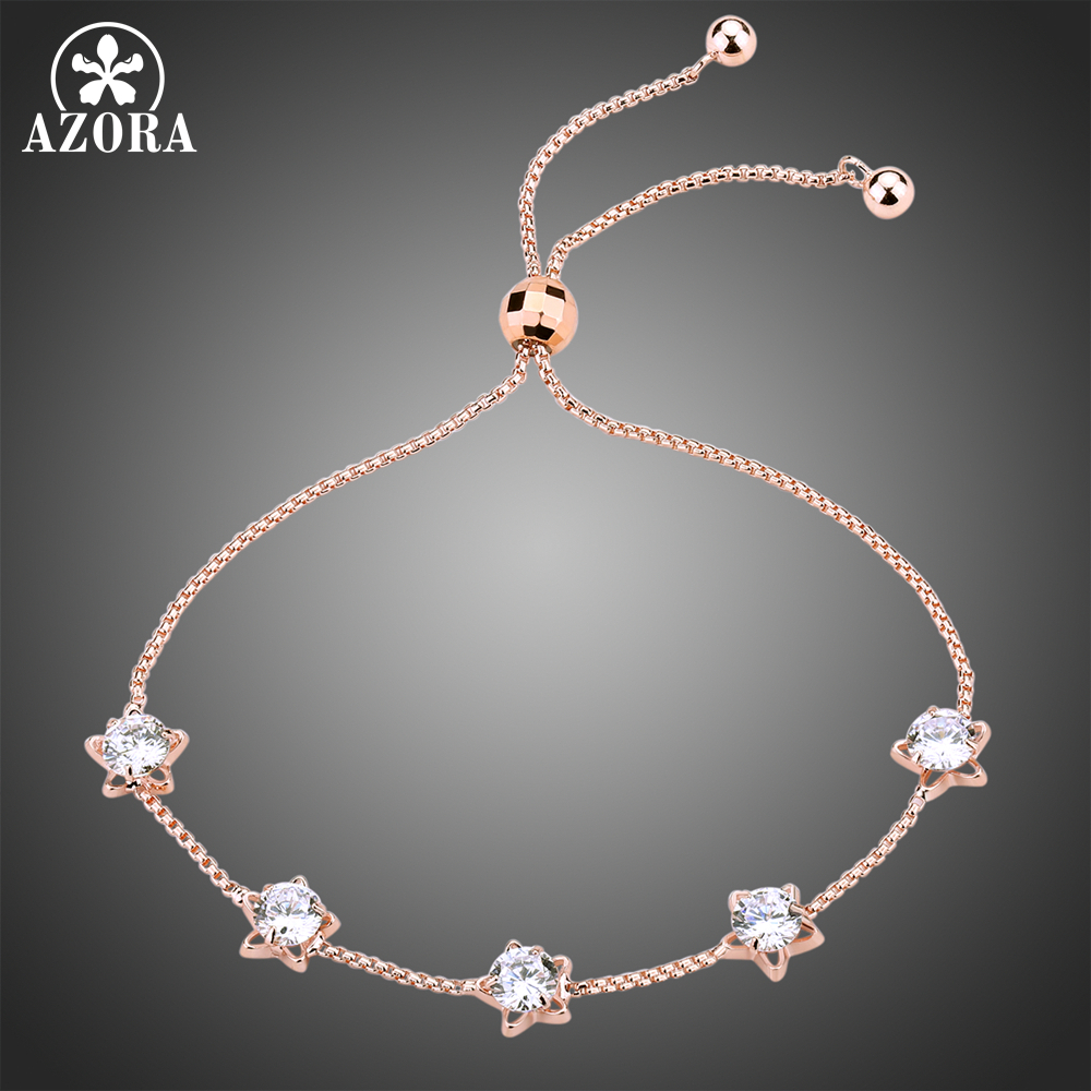 все цены на AZORA Five Star Clear Cubic Zirconia Slide Adjustable Chain Bracelets Women Fashion Rose Gold Color Jewelry Gifts TS0191 онлайн