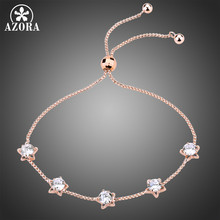 AZORA Five Star Clear Cubic Zirconia Slide Adjustable Chain Bracelets Women Fashion Rose Gold Color Jewelry Gifts TS0191(China)