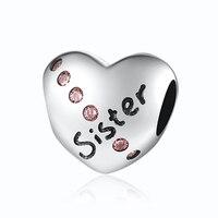 Dla Kobiety DIY Biżuteria Dokonywanie Fit Pandora Bransoletka Bangle Vintage Kryształowe Serce Siostra Autentyczne 925 Srebro Koraliki Charms