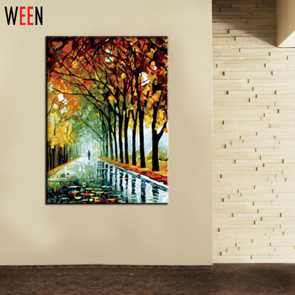 WEEN Autumn Walking Pictures By Number 40X50cm Digital DIY HandPainted Wall Oil Painting By Numbers For Living Room Decor Gift