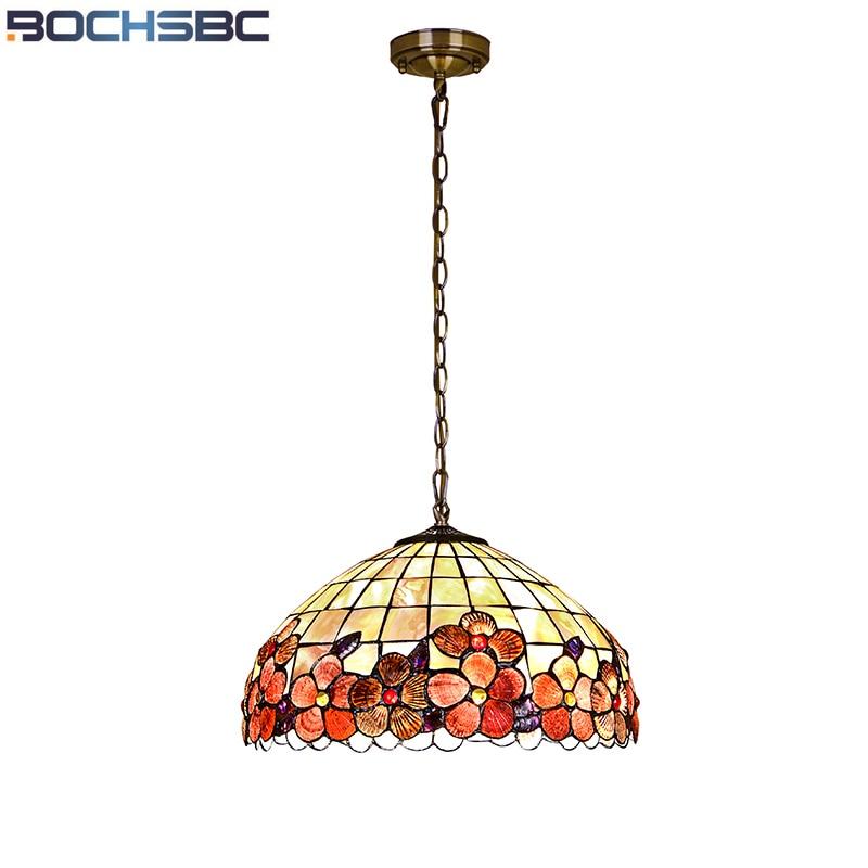 BOCHSBC European Art Shell Pendant Lamps Peony Hanging Lights for Study Room Bedroom Dinning Room Living Room Light Lampar
