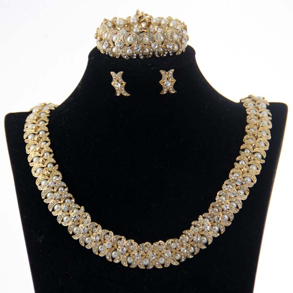 CHRAN Classic Gold Color Faux Pearl Style Indian Bridal Wedding