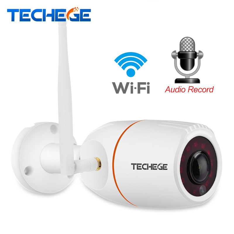 Techege 2MP WiFi Camera Audio Record 1080P 960P 720P ONVIF Wireless Wired P2P Onvif HD CCTV Camera Waterproof IP67 SD Card Slot wistino 1080p 960p wifi bullet ip camera yoosee outdoor street waterproof cctv wireless network surverillance support onvif