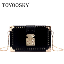 hot deal buy toyoosky fashion box women bag rivets fashion women messenger bags small square girls shoulder bags 2018 new female shoulder sac
