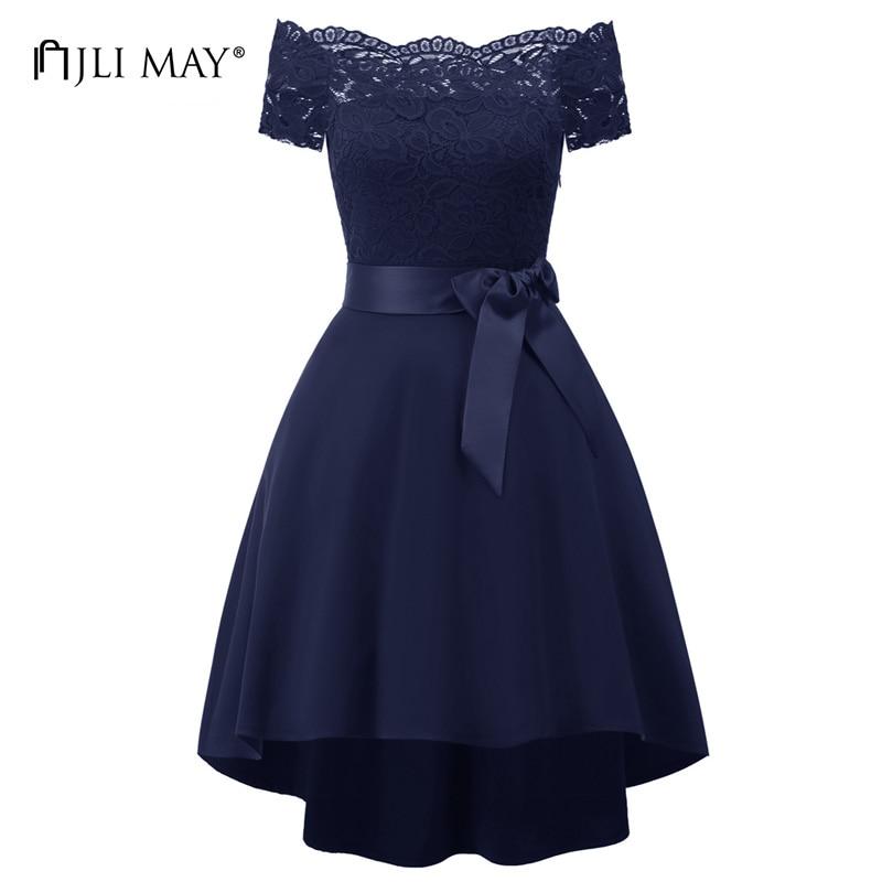 JLI MAY Elegant evening lace dress black off shoulder slash neck belted asymmetrical womens clothing women summer party dresses