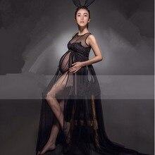 [SALE] Royal Style Black& Grey Maternity Lace Dress Pregnant Photography Props Fancy Pregnancy Maternity Photo Shoot Long Dress