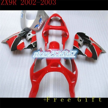 Bodywork 2002 2003 ZX9R Motorcycle Fairings for Kawasaki ZX 9R 02 03 Ninja ABS Plastic Fittings Carenes Covers Red Black Cowling