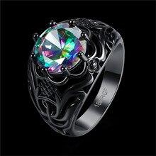 Women's Trendy Black Gold Vintage Rainbow Stone Ring