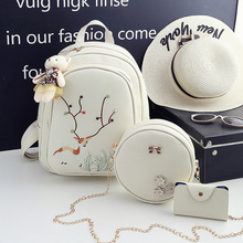 купить fashion women pu leather 3 sets backpacks girls casual travel school bags water repellent shoulder bags short trip rucksack 2018 дешево