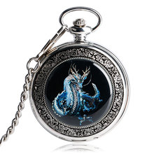 Retro Evil Silver Dragon Mechanical Hand Winding Men Pocket Watch Pendant Necklace Chain Carving Wind Up Steampunk Gift