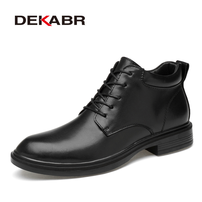 DEKABR Size 35~50 Warm Heighten Boots Genuine Leather Men Boots High Quality Autumn Snow Boots Men Waterproof Soft Ankle Shoes