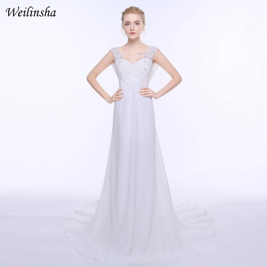 Weilinsha Stock Plus Size Chiffon Beach Wedding Dresses Cap Sleeve Applique Beaded Sumemr Bridal Gowns Vestido De Noiva