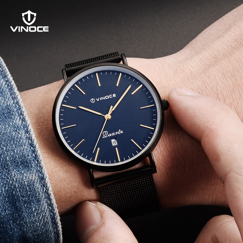 VINOCE Watches Men Fashion Stainless Steel Wrist Watch Luxury 7mm Ultra Thin Men Quartz Watch Waterproof Relogio Masculino 2018 longbo ultra thin stainless steel quartz wrist watch for men silver