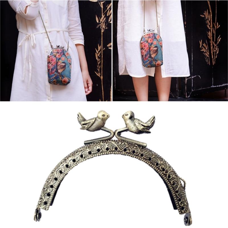 THINKTHENDO 1PC DIY Purse Handbag Handle Coins Bags Metal Bird Kiss Clasp Lock Frame 8.5cm