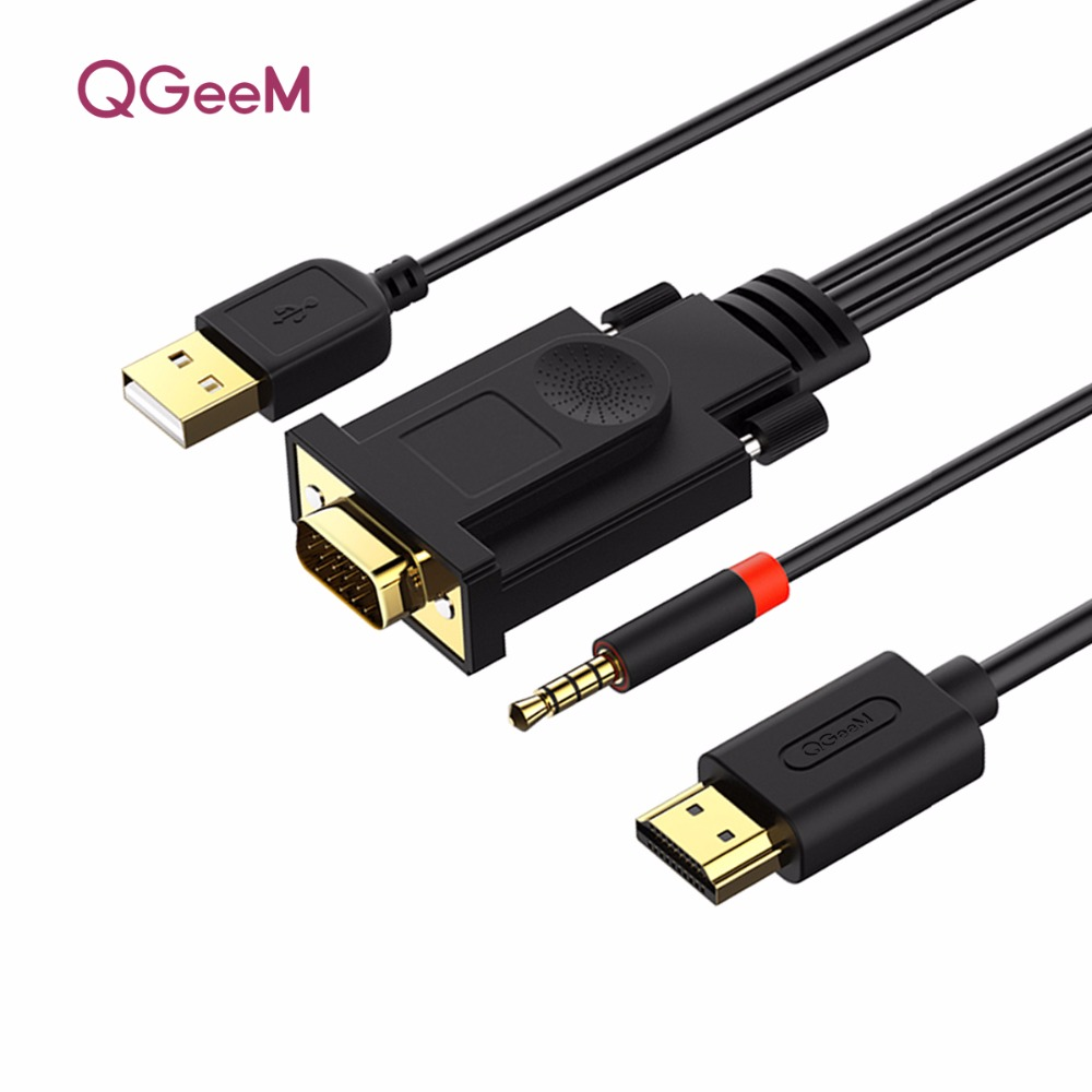 QGEEM VGA To HDMI Cable With Audio 1080p@60Hz VGA HDMI Adapter Converter Male To Male For Laptop Projector Ps3 Xbox HDMI VGA