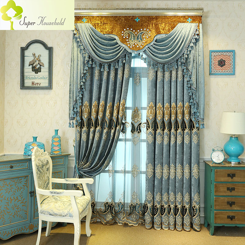 Kitchen Without Window: 1 PC European Luxury Curtains For Living Room Embroidered