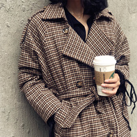 2018 Winter Vintage Women Plaid Blends Coats Over Knee Fashion High Street Double Breasted Woolen Coats Long Thick