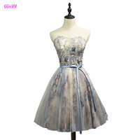 Gorgeous Multi Colored Prom Dresses Real Photos Sweetheart Tulle Crystal Lace Up Sexy Evening Party Gown Short Cocktail Dress