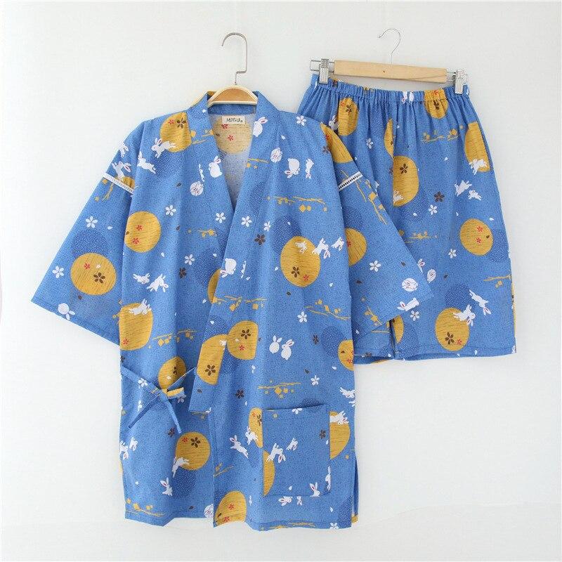 Japanese kimono 100% cotton half sleeve Pajama Sets men women pyjamas S