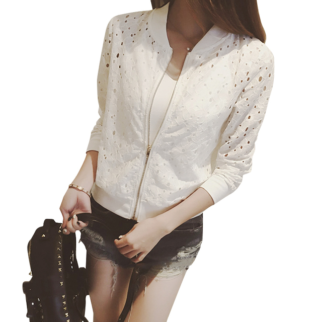 972e2f7085 Ladies Jacket Bomber Women Coat Jacket Women Black/White Lace Sleeve Jackets  For Outwear Autumn Spring 0427-37