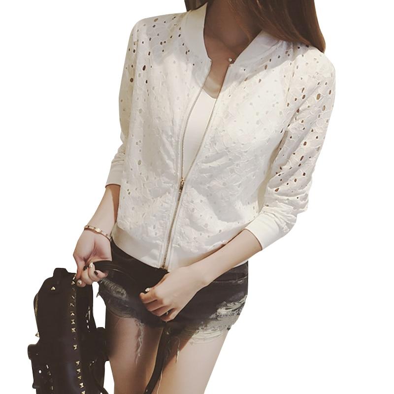 Ladies Jacket Bomber Women Coat Jacket Women Black/White Lace Sleeve Jackets For Outwear Autumn Spring 0427-37