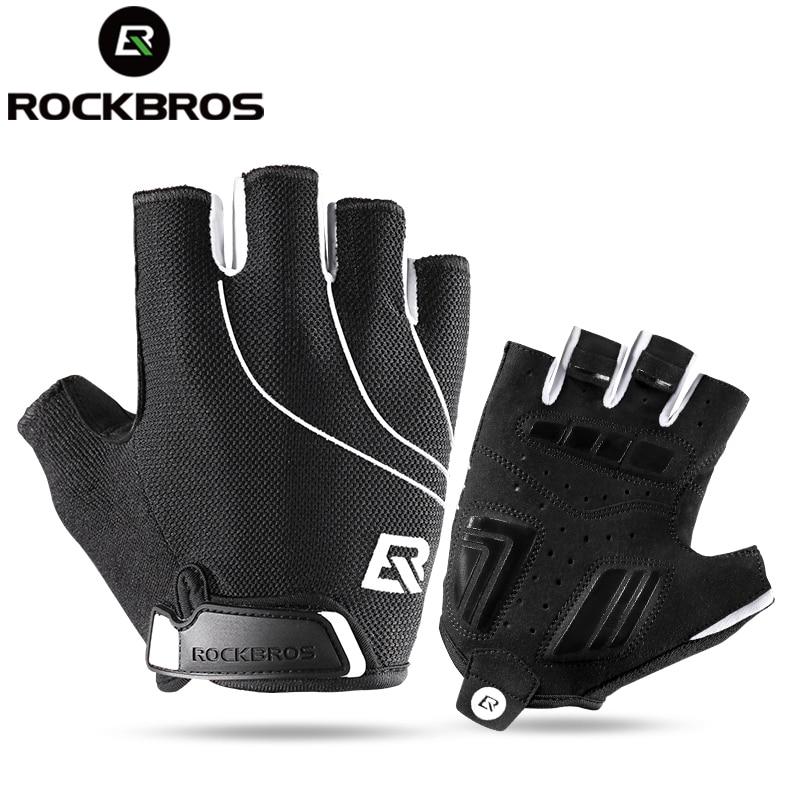 ROCKBROS Bicycle Half Finger Short Gloves Shockproof Breathable MTB Bike Gloves