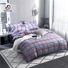ParkShin Geometry Bedding Set Decor Home Textiles Plain Bedspread Duvet Cover Double Single Flat Sheet 3/4PCS Bed Linen