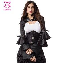Black Satin Long Butterfly Sleeve Steampunk Jacket Coat Victorian Women Bolero Vintage Gothic Corset Sexy Costume