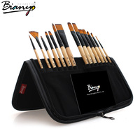 Bianyo Nylon Hair Acrylic Painting Brush Set Wood Handle School Drawing Tool Watercolor Paint Brush for Art Material Supplies