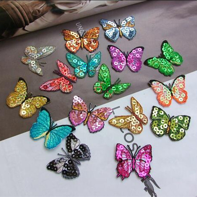 Iron On Embroidered Sequin Butterfly Applique Children Clothes Patch