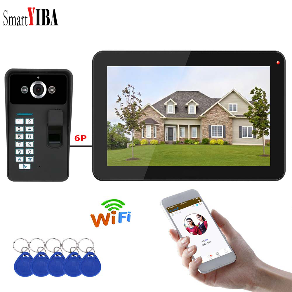 SmartYIBA Fingerprint RFID Password APP Remote Control 9 Inch Monitor Wifi Wireless Video Door Phone Doorbell Intercom System door wireless with monitor