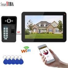 SmartYIBA отпечатков пальцев RFID пароль приложение дистанционное управление 9 дюймов мониторы Wi Fi Беспроводной видео телефон двери дверные звонки
