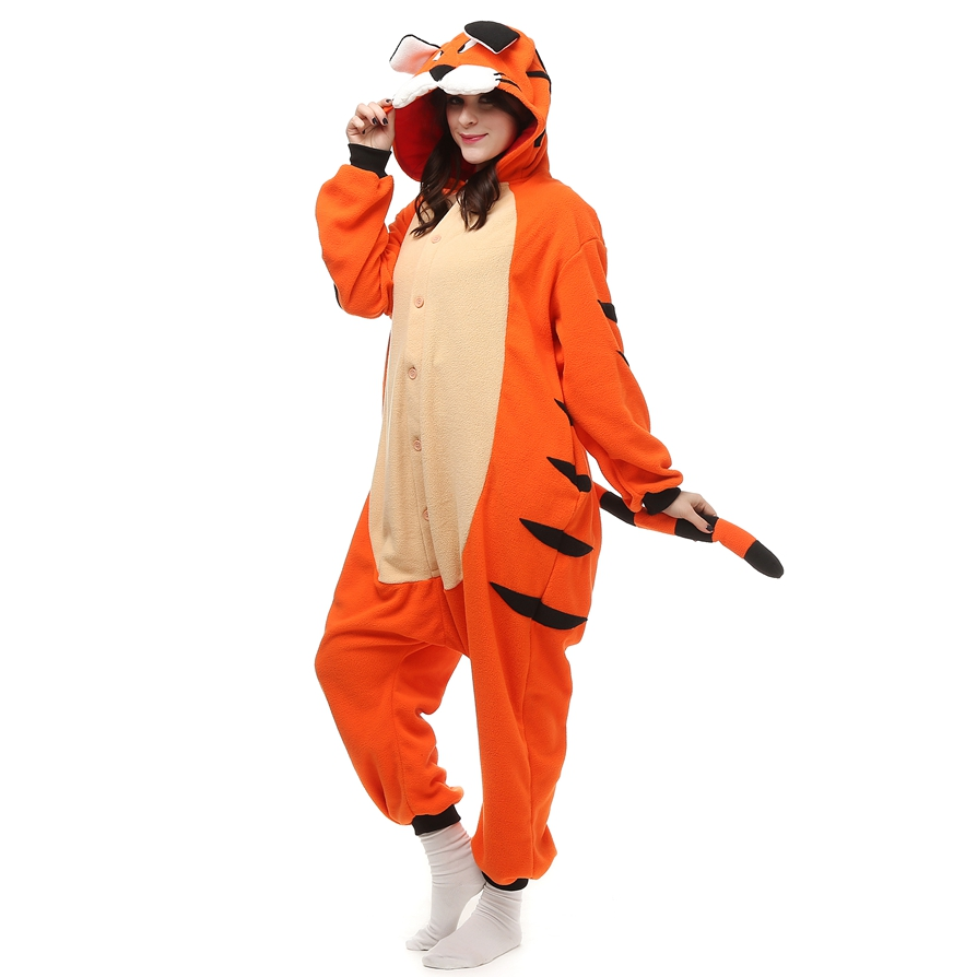 2017 Fleece Pajamas Animal Bengal Tiger Onesie With Tail For Adults Women Unisex Winter Pijamas Feminino LTY7