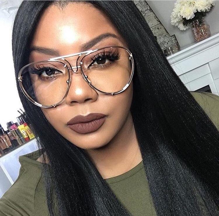f0de6fdb221 HBK Unique Vintage eyeglasses transparent glasses Women Rimless Glasses  Oversized Clear Shades lunettes Sunglasses Female Pink-in Sunglasses from  Apparel ...
