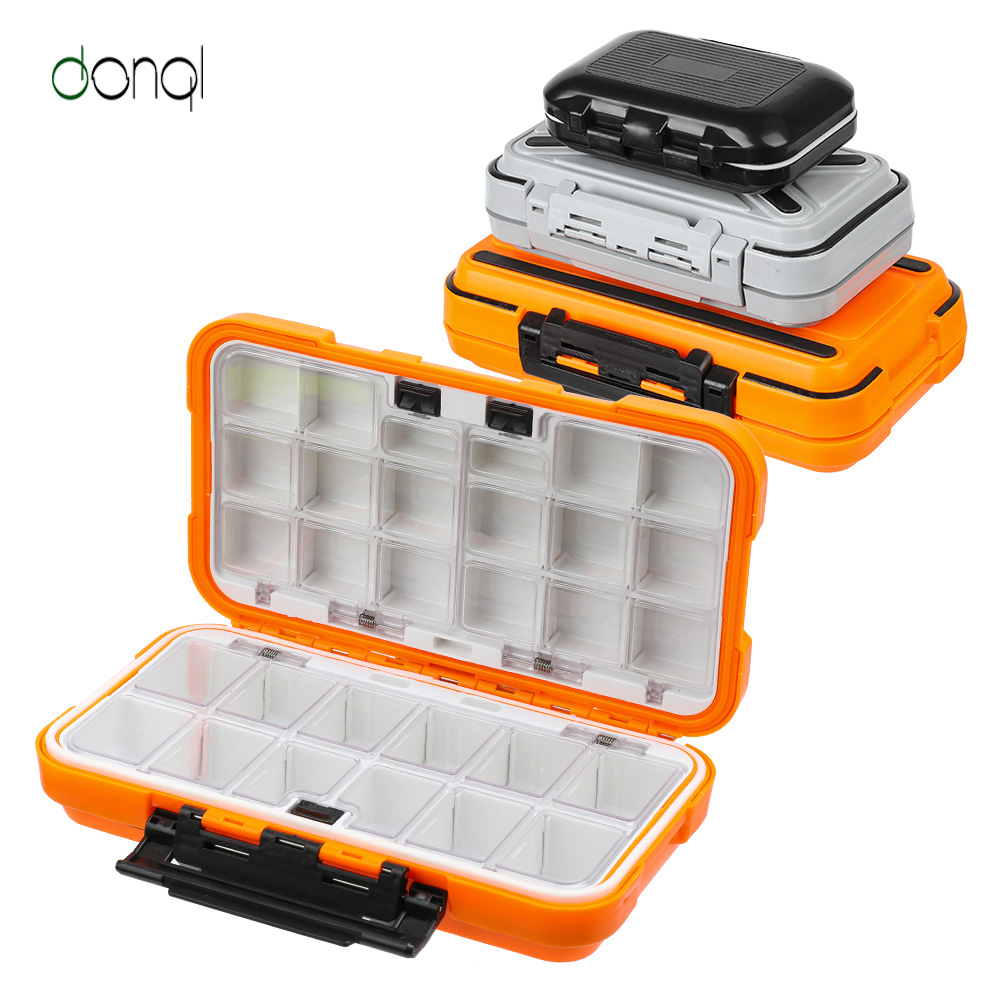 DONQL Fishing Tackle Boxes Double Layer Compartments Waterproof Fishing Box Storage Case For Carp Fishing Lure Hook Accessories