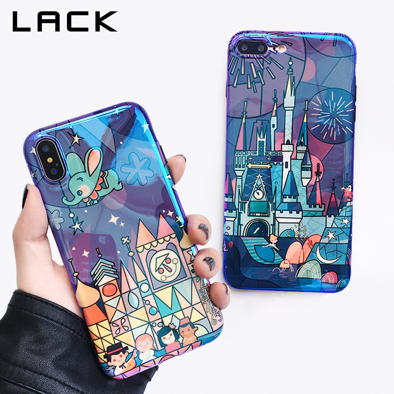 LACK <font><b>Fairy</b></font> Tale Castle Phone Case For iphone X Case Lovely Cartoon Fireworks Cover <font><b>Blu-Ray</b></font> Cases For iphone 7 6 6S 8 Plus Capa