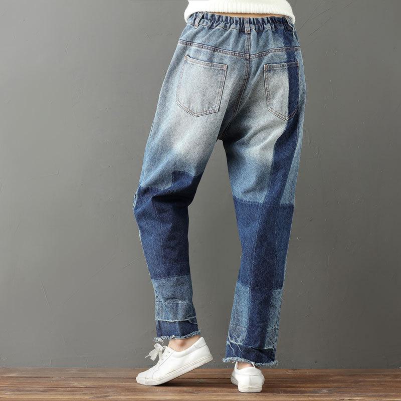 Capri Coton Casual Élastique Femmes Boho Bleu Harajuku Taille Jeans Pour Pantalon Hippie Les Vintage Denim Patchwork wXwP8YZ