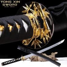 Вручнуювыкованные японский мечи-катаны Полный Тан реальную Сталь с кровью ПАЗ ручной работы самурайский меч острый лезвие