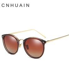 CNHUAIN Women's glasses female Round Polarized Sunglasses Women Brand Designer Vintage sun glasses for women oculos feminino