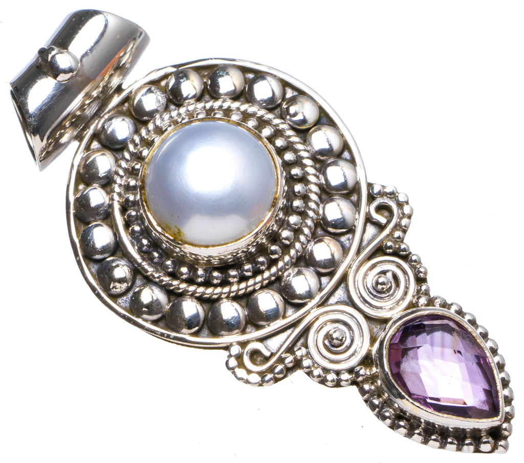StarGems(tm) Natural River Pearl andAmethyst Handmade Unique 925 Sterling Silver Pendant 1.75 X0883