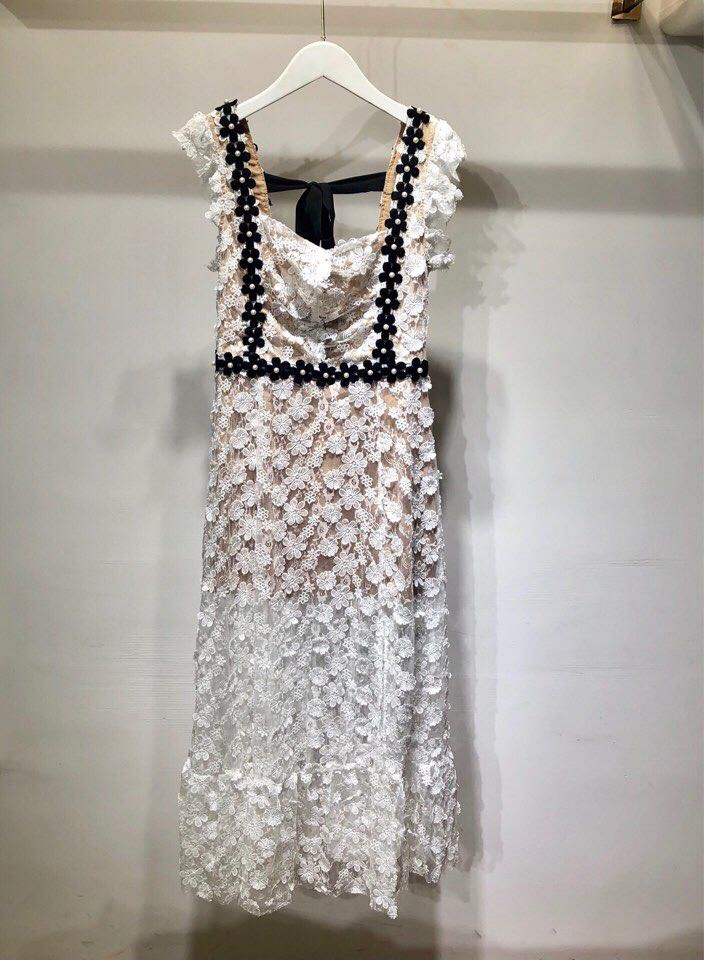 Haute qualité nouvelle mode femmes 2019 robe d'été de luxe célèbre marque conception européenne parti style robe WD05338