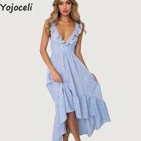 Yojoceli Ruffle striped lace up fringe long dress women Summer elegant boho beach maxi dresses Party casual chic dress female
