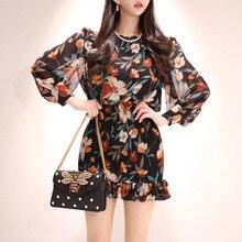 цена Plus Size Chiffon Bodycon Summer Dress 2019 Women Black Long Sleeve Casual Floral Mini Dress Office Club Wrap Dresses Clothes
