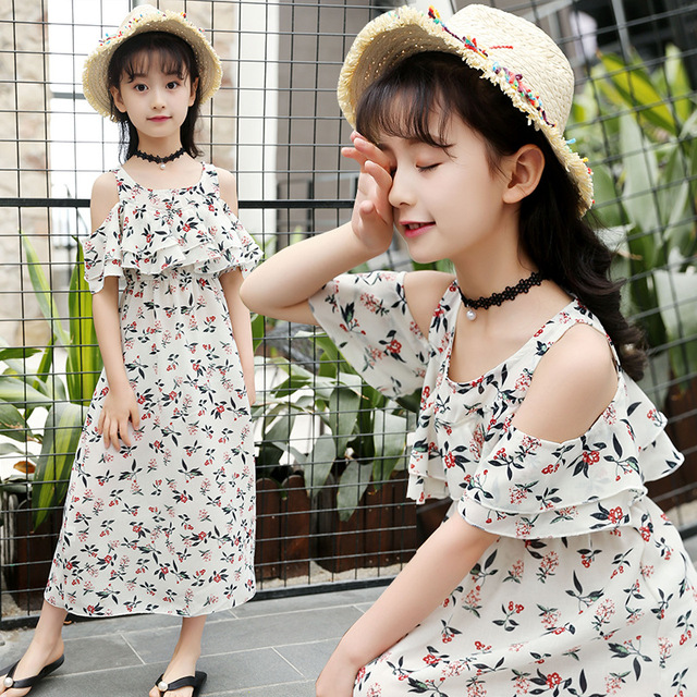 2ce95a02c35e Summer Dress For Girls Bohemia Style Girls Beach Dress Kids Off Shoulder Girls  Dresses Teenage Girls Clothes 6 8 10 12 14 Year