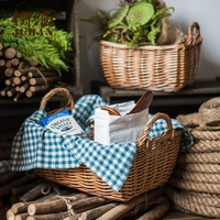 Handmade Natural wicker storage basket Zakka picnic bakest with handgrip food sundries shopping fruit basket kitchen organizer